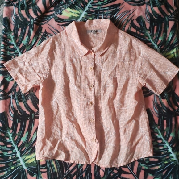 Flax Tops - FLAX Orange Short Sleeve Top Size Amall